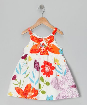 White & Red Floral Dress - Infant & Toddler