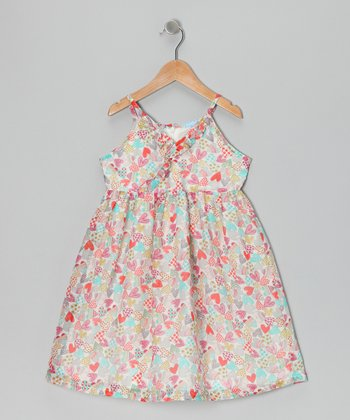 Light Blue & Pink Heart Dress - Infant, Toddler & Girls