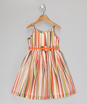 Orange & Lime Stripe A-Line Dress - Infant, Toddler & Girls