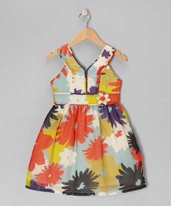Orange & Light Blue Floral Dress - Girls
