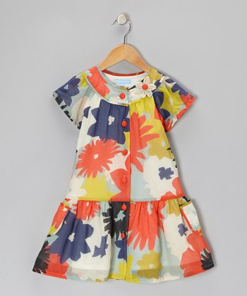 Orange & Blue Floral Drop-Waist Dress - Toddler & Girls