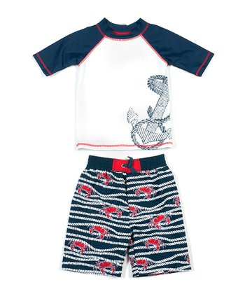 White & Navy Crabby Rope Rashguard Set - Boys