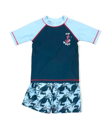 Aqua & Navy Crab Shack Rashguard Set - Infant & Boys
