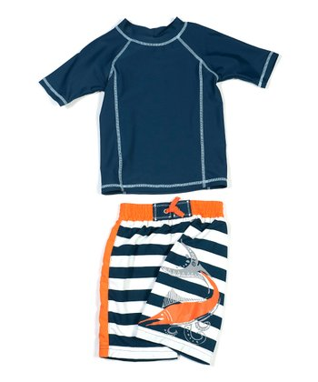 Navy Marlin Swim Rashguard Set - Infant & Toddler