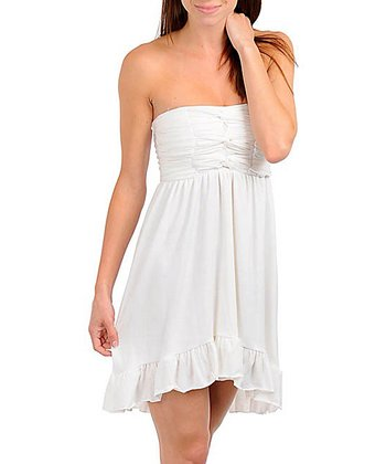 White Strapless Empire-Waist Dress