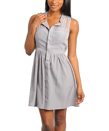 Gray Button-Front Sheer-Yoke Sleeveless Dress