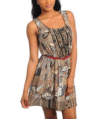 Brown Paisley Belted Dress