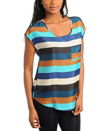 Multi Stripe Cap-Sleeve Scoop Neck Top