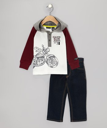 Maroon Motorcycle Hooded Tee & Jeans - Infant & Toddler