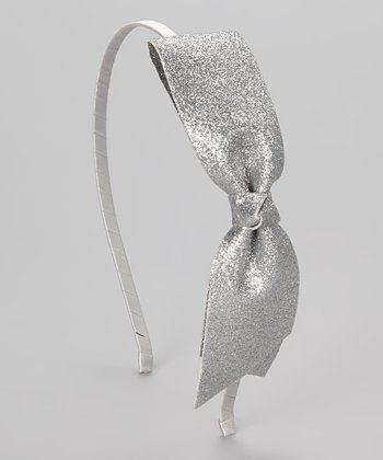 Silver Glitter Bow Headband