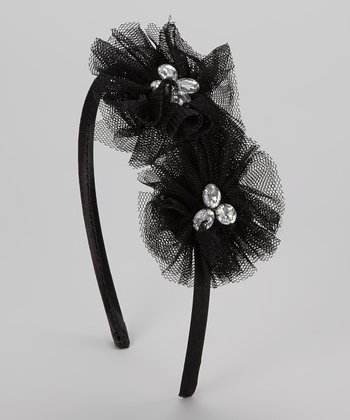 Black Gem Chiffon Flower Headband