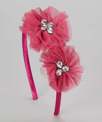 Fuchsia Gem Chiffon Flower Headband