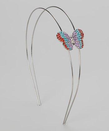 Lavender & Aqua Rhinestone Butterfly Headband