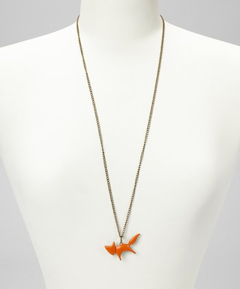 Orange Fox Pendant Necklace