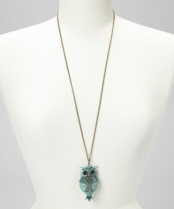 Aqua Hoot Pendant Necklace
