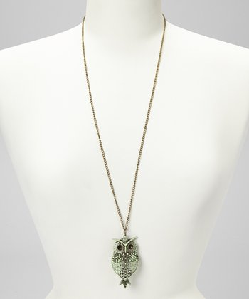 Mint Hoot Pendant Necklace