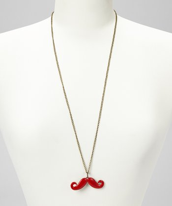 Red Mustache Pendant Necklace