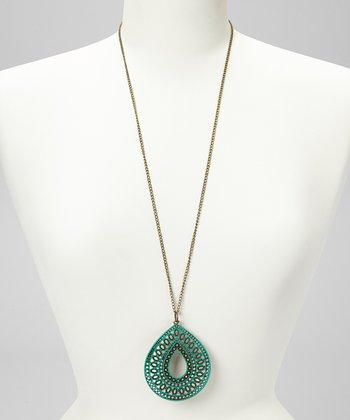 Emerald Teardrop Pendant Necklace