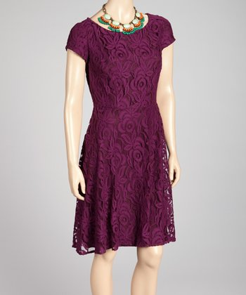 Purple Lace Zipper Dress