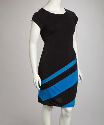 Royal Stripe Dress - Plus