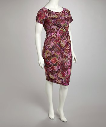 Purple Floral Dress - Plus
