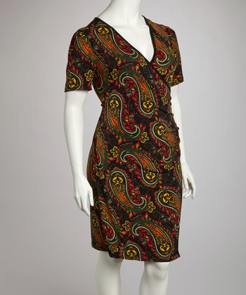 Black & Brown Paisley Wrap Dress - Plus