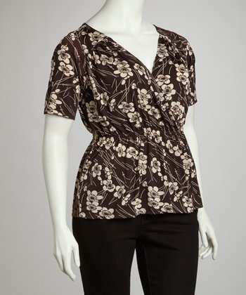 Brown Floral Wrap Top - Plus