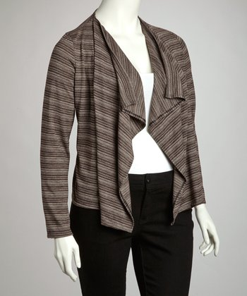 Mocha Open Cardigan - Plus