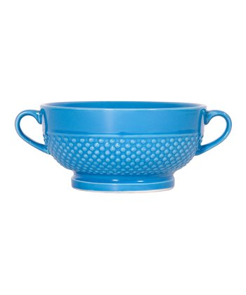 Aqua Hobnail Footed Bowl