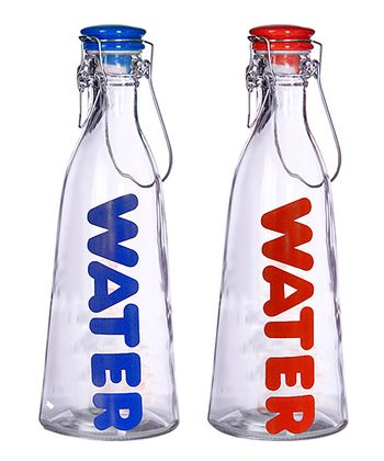 Blue & Red 'Water' Glass Bottle Set