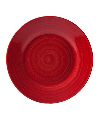 Red Brush Stroke 7.5'' Salad Plate - Set of Four