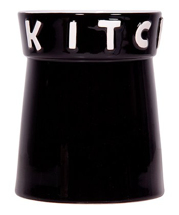 Black 'Kitchen' 7.5'' Utensil Crock