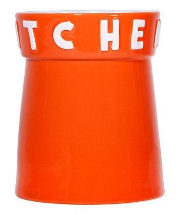 Orange 'Kitchen' 7.5'' Utensil Crock