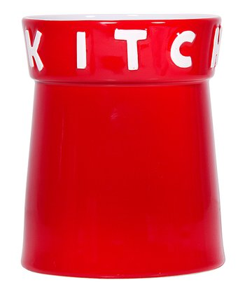 Red 'Kitchen' 7.5'' Utensil Crock