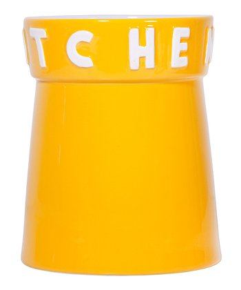Yellow 'Kitchen' 7.5'' Utensil Crock