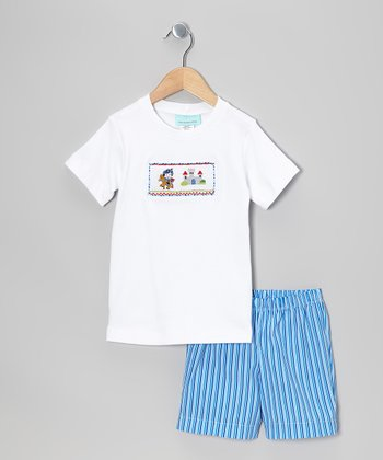White Knight Smocked Tee & Blue Shorts - Infant & Toddler