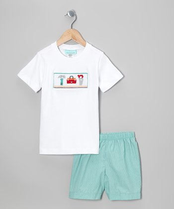 White Tools Tee & Teal Shorts - Infant & Toddler