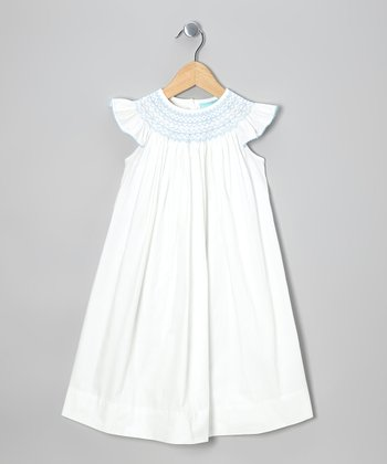 White & Blue Angel-Sleeve Dress - Infant