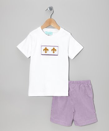 White Fleur de Lis Tee & Purple Shorts - Infant & Toddler