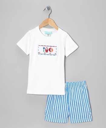 White Beach Tee & Blue Stripe Shorts - Infant & Toddler