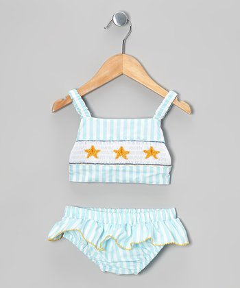 Aqua Stripe Starfish Tankini Sunsuit - Infant, Toddler & Girls