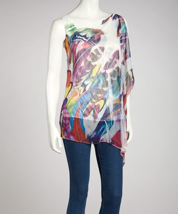 White Abstract Asymmetrical Top