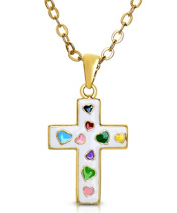 White Cross Pendant Necklace