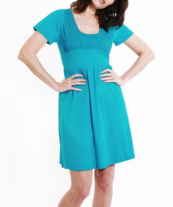 Turquoise Crocheted Neck Dress - Women