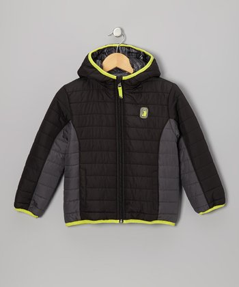 Black Stripe Reversible Puffer Coat - Infant, Toddler & Boys