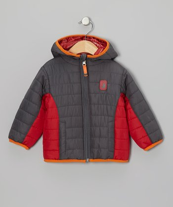 Charcoal & Red Reversible Puffer Coat - Infant, Toddler & Boys