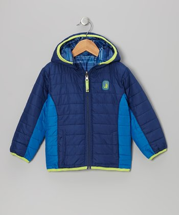 Navy Stripe Reversible Puffer Coat - Infant, Toddler & Boys