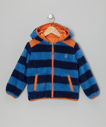 Royal Stripe & Orange Reversible Sherpa Coat - Infant & Boys