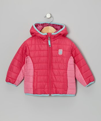 Fuchsia Stripe Reversible Puffer Coat - Infant, Toddler & Girls