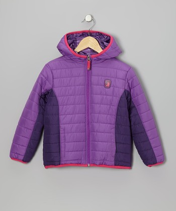 Lilac Stripe Reversible Puffer Coat - Toddler & Girls